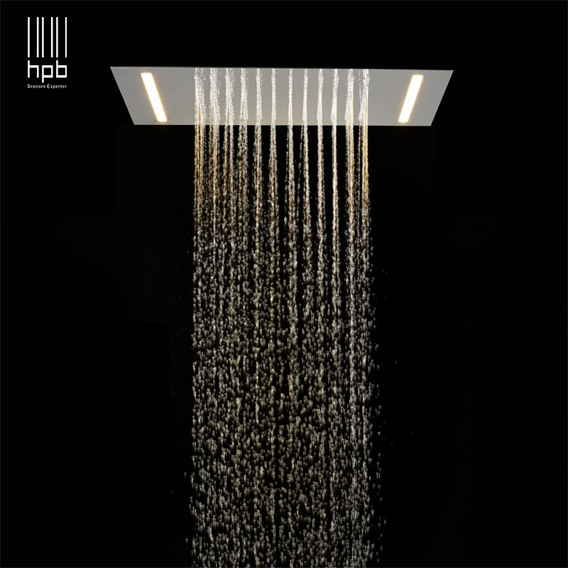 HPB 2 ways luxury stainless steel LED rainfall ceiling mounted shower faucets head 500mmx360mm massage led