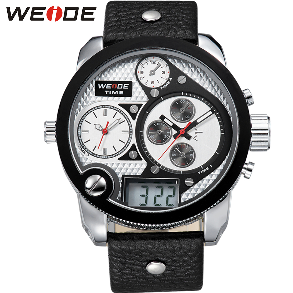 WEIDE Brand Men Vintage Multi Timer Watch LCD Quartz 3ATM Water Resistant Leather Strap Big Round Dial Wristwatches Gift for Men weide high quality watch men luxury brand big dial 3atm water resistant stainless steel back lcd wristwatches with alarm items