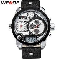 WEIDE Brand Men Vintage Multi Timer Watch LCD Quartz 3ATM Water Resistant Leather Strap Big Round