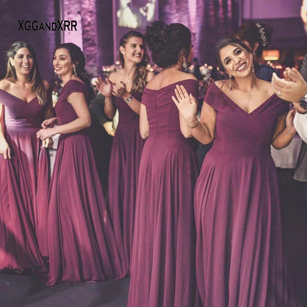 In Fashion Purple Chiffon   Bridesmaid     Dresses   2019 Sexy V Neck Long Bride Side   Dress   Pleats Prom Gown Formal Wedding Party Gown