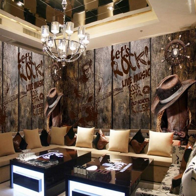 Beibehang Papel De Parede 3d Murals Wall Covering Fire Skull Guitar Music Ktv Bars Laser Reflector Theme Mural Wallpaper Painting Supplies & Wall Treatments Wallpapers
