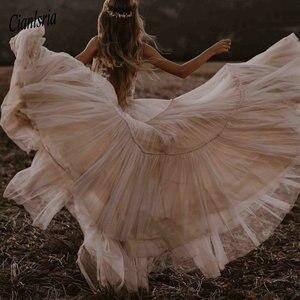 Image 5 - Свадебные платья телесного цвета шампанского 2020 с глубоким v образным вырезом, богемное платье с глубоким v образным вырезом, причудливые Свадебные платья Boho Dreamy, пляжные платья Vestido De Noiva
