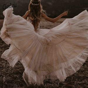 Image 5 - Nude suknie ślubne w kolorze szampańskim 2020 głęboki dekolt w serek czechy głęboki dekolt kapryśny Boho marzycielski suknie ślubne plaża Vestido De Noiva