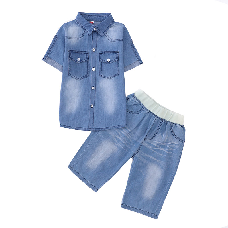 New 2018 Boys Clothes 5 6 8 10 12 14 Years Clothing Sets For Baby Boys Kids Suits Summer Cowboy Denim T Shirt And Shorts Jeans zengli mens denim cargo shorts jeans casual vintage blue pockets biker jeans summer knee length denim shorts 40 42 44 46 48