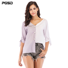 PGSD Summer Office lady casual Elbow sleeve Stitching two colors Blouse V-neck slim Button Shirt female Fashion women clothes все цены