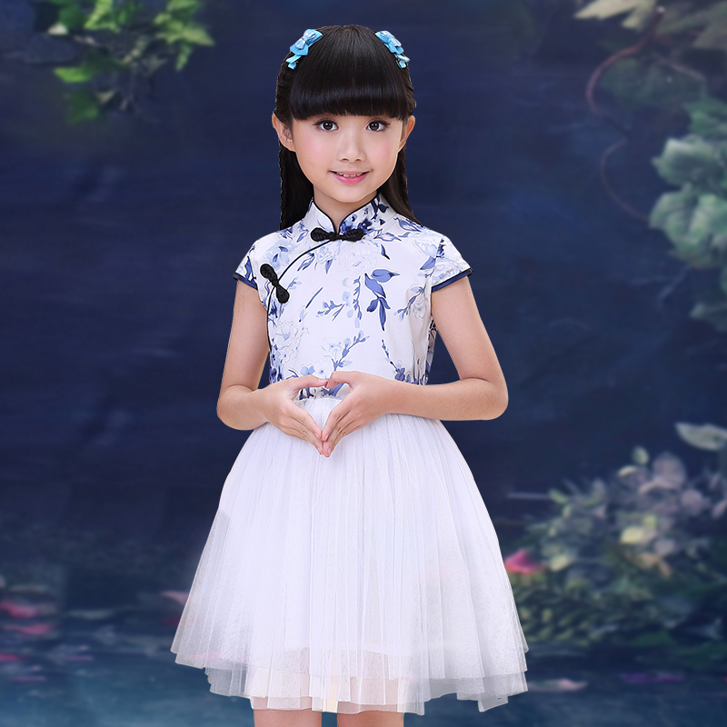 2017 autumn girls floral print blue tile qipao dresses kids party wear children's wedding party tulle dresses teens dance prom