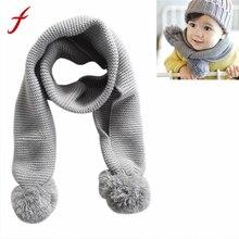 Feitong/ г. Лидер продаж, детский шарф для девочек и мальчиков, детская осенне-зимняя теплая вязаная шаль, однотонный мягкий шарф, подарки, Bufanda Infantil