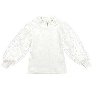 Image 4 - 2019 בנות חולצה סתיו בגדי ילדים עבור בנות 5 6 7 8 9 10 11 12 Y תחרה לבן חולצות בית ספר אחיד גדול בנות צמרות חולצה Fille