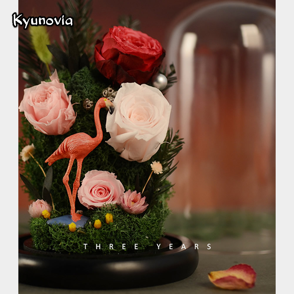 Aliexpress buy kyunovia flamingo art ornament preserve fresh aliexpress buy kyunovia flamingo art ornament preserve fresh roses glass for valentines day rose flower immortal birthday dried flower ky73 from izmirmasajfo