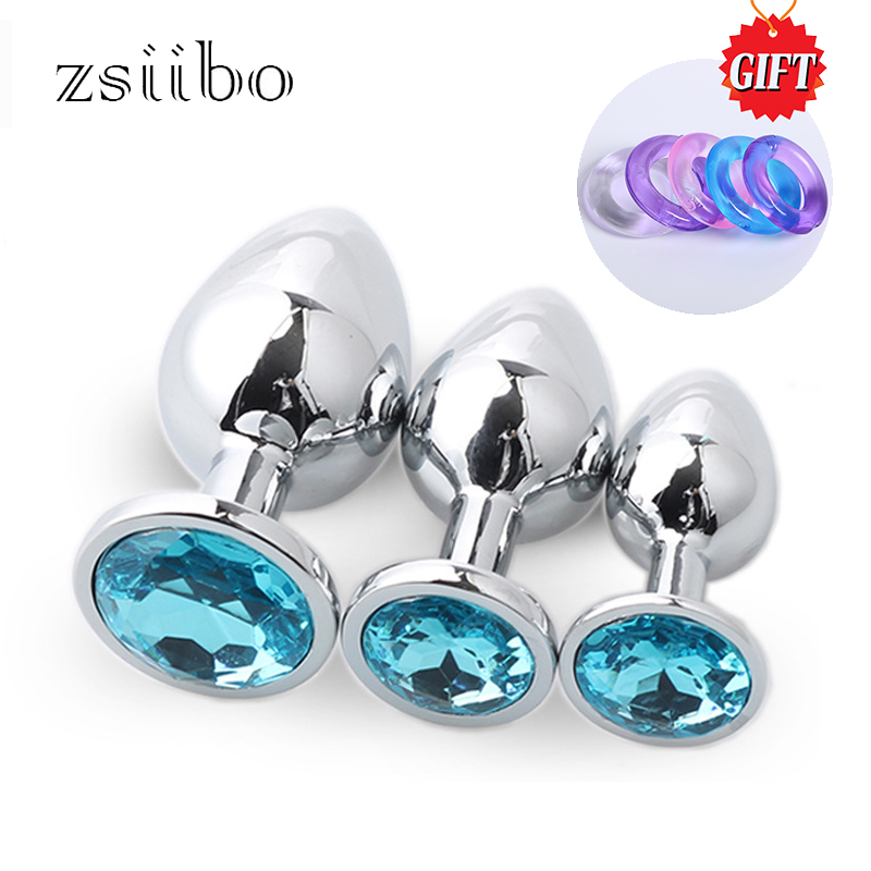 3pcs/set Stainless Steel Small Medium Metal Anal Plug Dildo For Women & Men Crystal Jewelry Beads Adult Sex Toys Qqgs05 Last Style Home