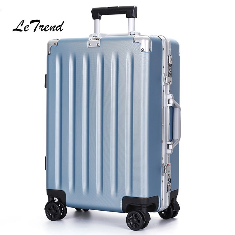 цена на Letrend 24 29 Inch Aluminium Frame Rolling Luggage Spinner Trolley Solid High-grade Travel Bag Carry On Suitcases Wheel Trunk
