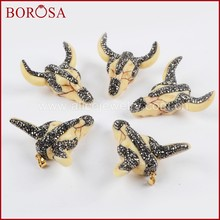 BOROSA 1Pcs Cattle Buffalo Head Pendant, Rhinestone Pave Resin Ox Head Bull Cattle Bead Longhorn Horn Pendant Jewelry JAB634(China)