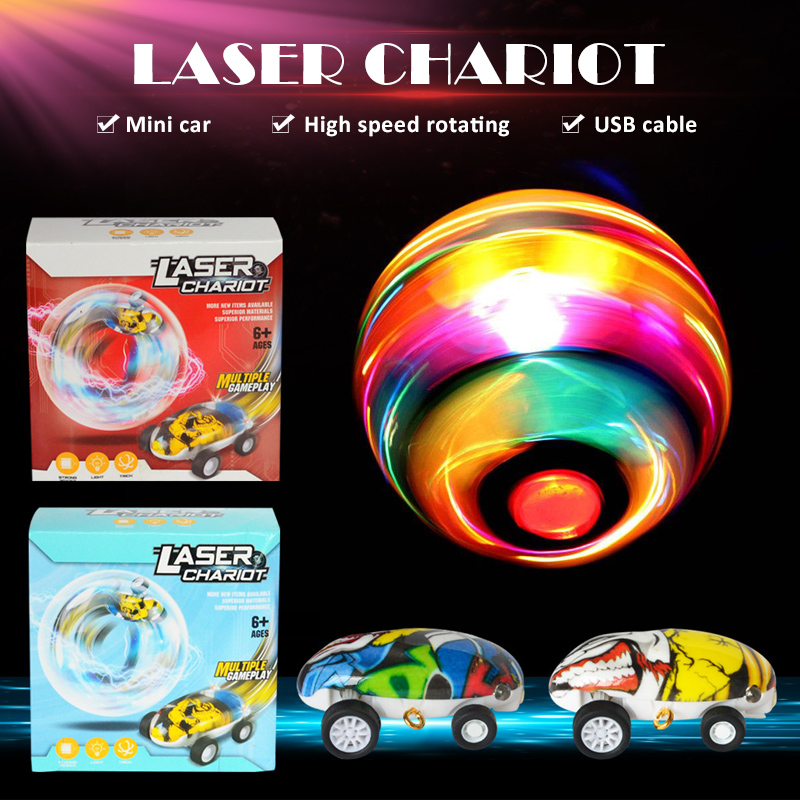 NEW High Speed Laser Car Chariot Rotatable Tracks With Lights Children Early Educational Toy For Kids Boys Fancy Birthday Gifts