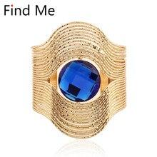 Find Me 2018 brand fashion Vintage Curved ethnic Cuff Bracelet punk big gem crytal Statement bracelets bangles for women Jewelry