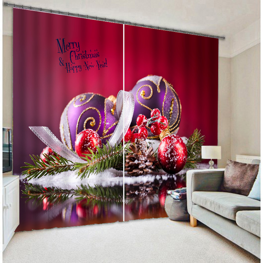 Red Christmas balls personalized photo print three-dimensional curtain products