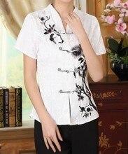 Nueva llegada blanco de estilo chino tradicional de las mujeres camisa de algodón superior clothing tamaño sml xl xxl envío gratis a0082