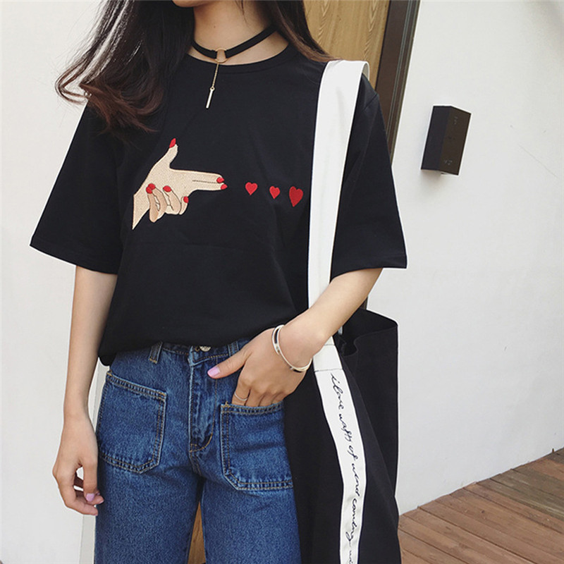 Fashion Women Korean Summer Heart Print T-shirts Girls Casual Short Sleeve Shirts Female O Neck White Black Solid T-shirt