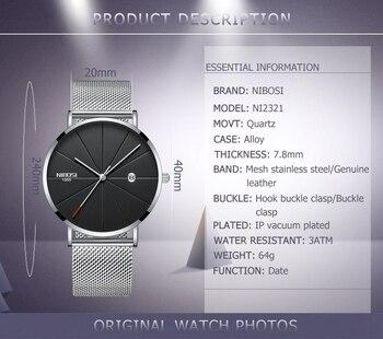 NIBOSI Men's Simple Top Brand Luxury Clock Slim Mesh Steel Waterproof Sport Quartz Watches 2