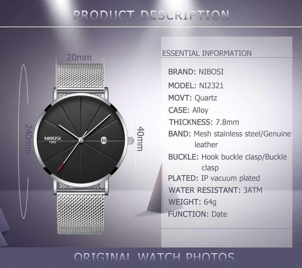 NIBOSI Simple relojes para hombre, reloj de lujo de marca superior, reloj de cuarzo, reloj deportivo resistente al agua, de malla, para hombre, reloj deportivo