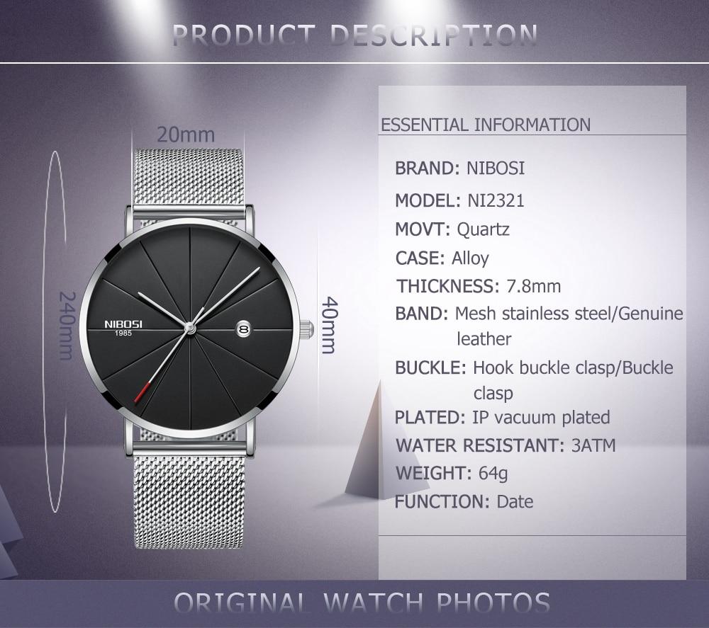 Image 3 - NIBOSI, простые мужские часы, Топ бренд, роскошные часы, кварцевые часы, мужские тонкие сетчатые стальные водонепроницаемые спортивные часы, Relogio Masculino Saat-in Кварцевые часы from Ручные часы on AliExpress