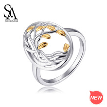 SA SILVERAGE 925 Silver Gold Color Plated Rings for Woman Authentic Sterling Life Tree Shape Engagemant Wedding Ring