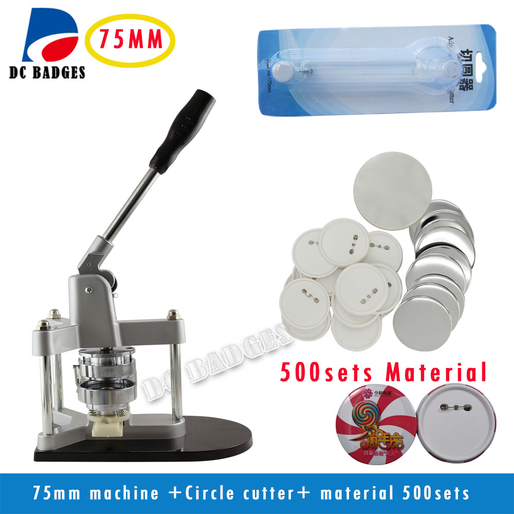 Free Shipping Aluminium Button Machine with 500set Button Circle Cutter Interchangeable Moulds and Badge Maker Button