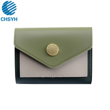 Women Lady Style Candy Color Wallet Girl Short Fashion Collision Splice Small Version Trend Folding Zero