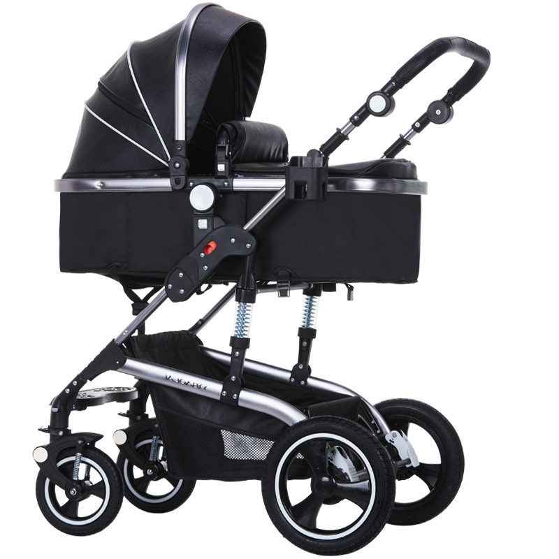 YIBAOLAI high landscape luxury PU baby stroller widened seat folding trolley lying shocked cart 3 in 1 aluminum alloy carriage twin stroller high landscape can lay the portable folding baby cart