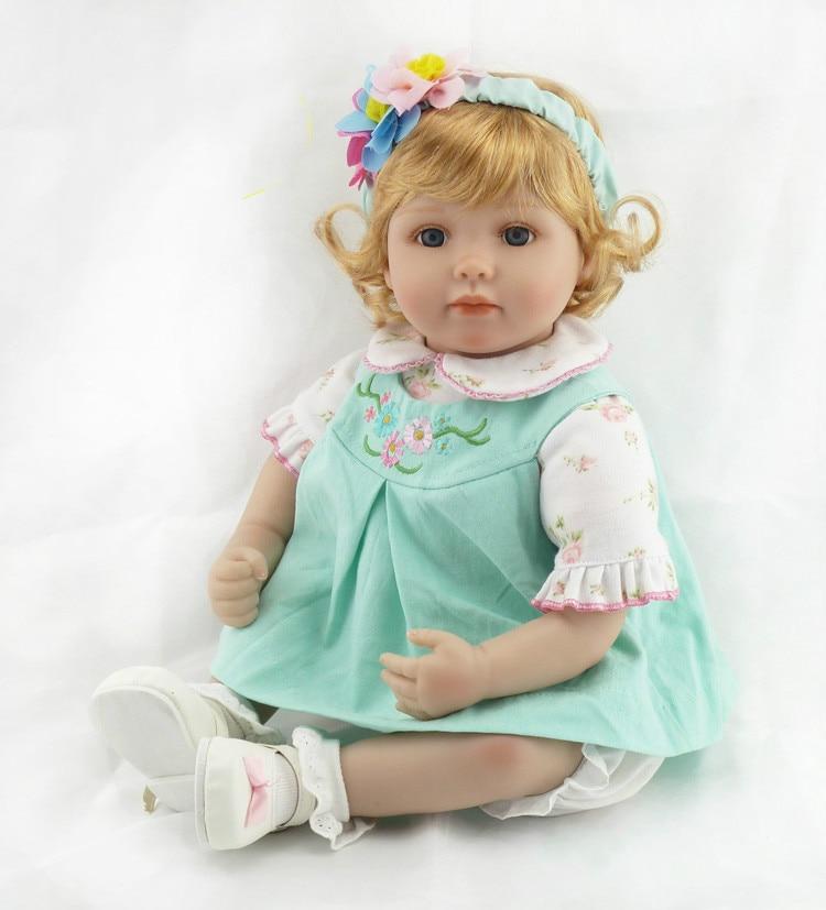 22'' Silicone Vinyl Reborn Baby Dolls Lifelike Accompany Sleeping Girl Brinquedos Doll Short Curls Princess Fashion Doll Gift цена