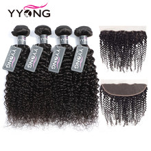 Yyong Peruvian Kinky Curly Lace Frontal Closure With Bundles 4 Human Hair Bundles With Frontal 5 Pcs/Lot Non Remy Free Shipping(China)