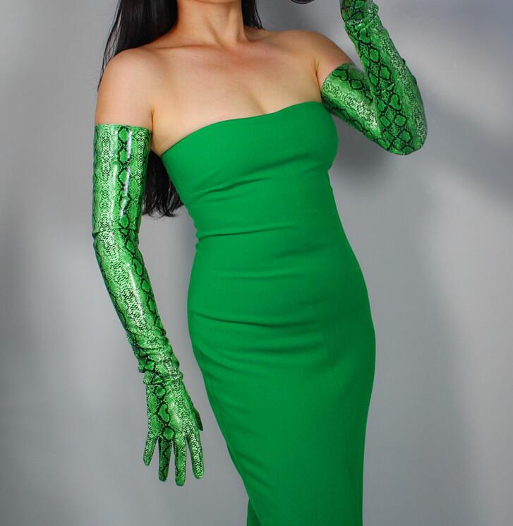 Women's Green Color Snake Skin Print Faux Pu Leather Long Gloves Female Sexy Club Party Dress Fashion Long Glove 70cm R1562