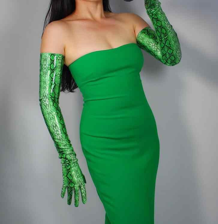 女性の緑のカラーヘビ皮プリントフェイク pu レザーロング手袋女性のセクシーなクラブパーティードレスファッションロンググローブ 60 センチメートル R1563