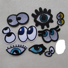 Hot sale Mixed eye Iron On Patches For Clothes Cartoon Motif Badges Embroidered DIY Clothes Ornaments Decor Sewing Accessories(China)