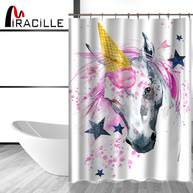 Exceptionnel Miracille Waterproof Polyester Fabric Colorful Unicorn Castle Design Shower  Curtain Home Decor Bathroom Accessories With Hooks