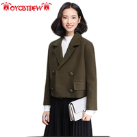 Autumn Women Short Coat 2017 Fashion New Solid Color Short Double Breasted Long Sleeves High Quality