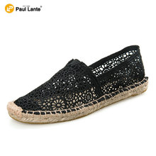 New Women's Summer Casual Canvas Flat Shoes Natural Jute Insole Lace Moccasins Fashion Slip On Loafer Cheap Espadrille Shoes