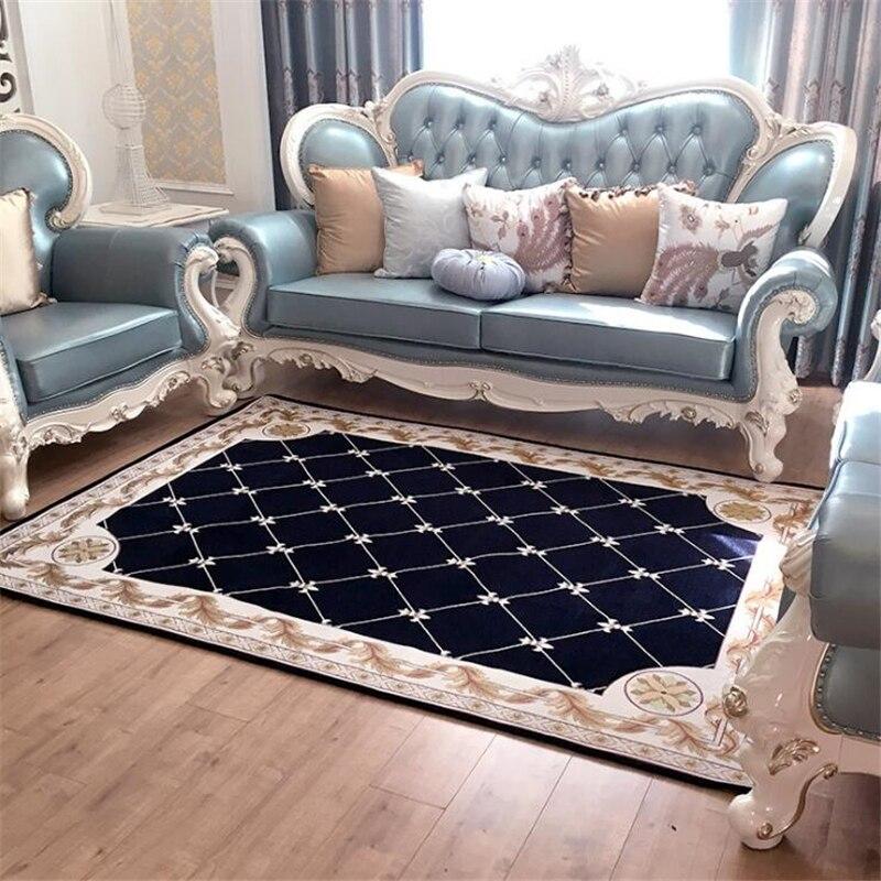 Elegant European Carpet Custom Living Room Sofa Coffee Table Mat Plastic Slip Hotel Bedside Study Bedroom Absorbent Mats