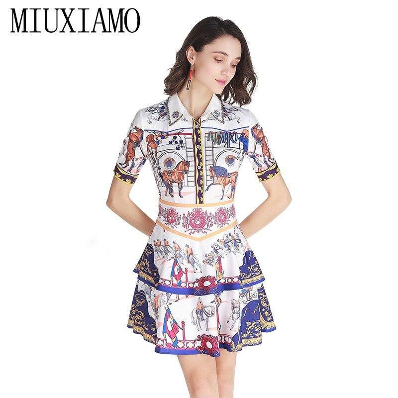 ac9ccad841497c Sommer Hohe Qualität Eleghant Diamanten Blume Drucken Vestido Miuximao  Luxuriöse Frühlingamp  Kleid Frauen Casual 2019 Aj3q54cRL