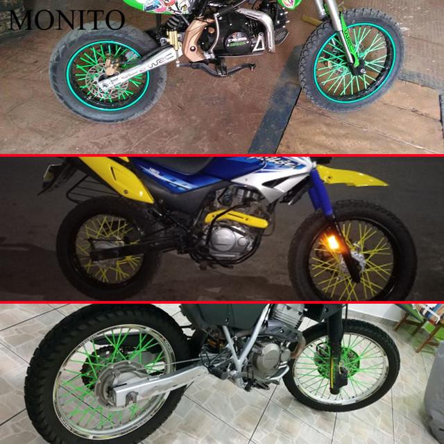 Universal Motorcycle Dirt Bike Wheel Rim Cover Spoke Skins Wrap Tubes Decor Protector 72 Pcs Red Blue Black Orange