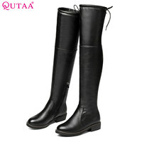 QUTAA 2018 Woman Knee High Boots Genuine Leather Square High Heel Zipper Design Women Shoes Women