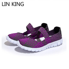 LIN KING Fashion Womens Swing Weave Shoes Spring Autumn Slip On Lazy Shoes Breathable Mix Color Wedge Casual Shoes For Female