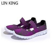 LIN KING New Arrival Women Casual Shoes Weave Shallow Mouth Mixed Color Summer Shoes Round Toe