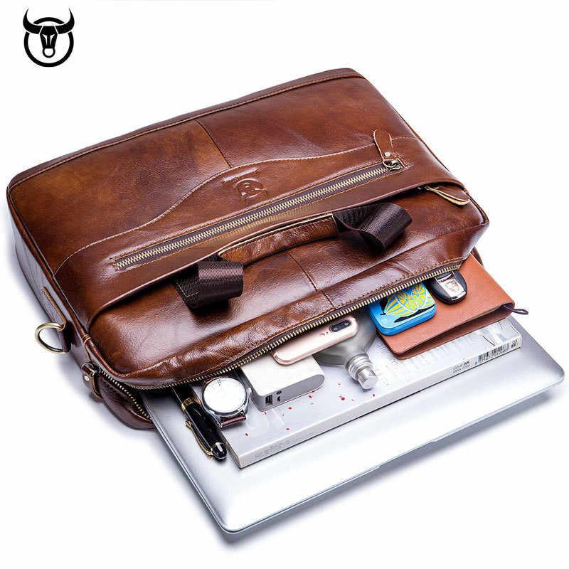 Bolsa de computador negócio Pasta dos homens de couro genuíno do vintage sacos de moda mensageiro homem bolsa de ombro bolsa carteiro masculina Bolsas