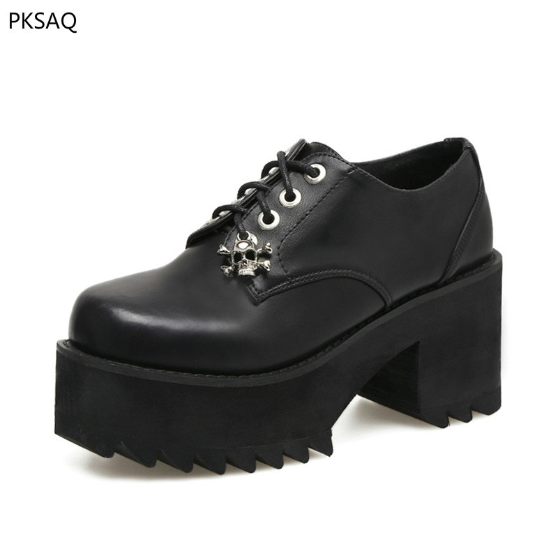 Spring Autumn Women Punk High Heel Shoes Thick Soles Flat Black Round Toe Lace Up Lady Casual Wedges Pumps Shoes xiaying smile woman pumps shoes women spring autumn wedges heels british style classics round toe lace up thick sole women shoes