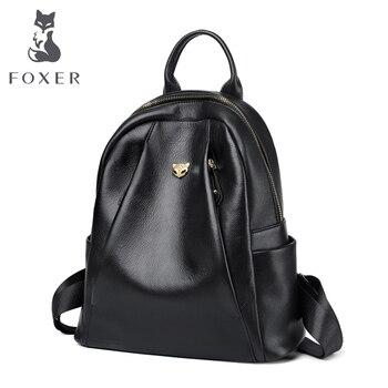 c4ee18c131f8 FOXER Брендовые женские из натуральной коровьей кожи рюкзаки для девочек  школьные сумки женские мягкие консервативный стиль Kanken Женская мода.