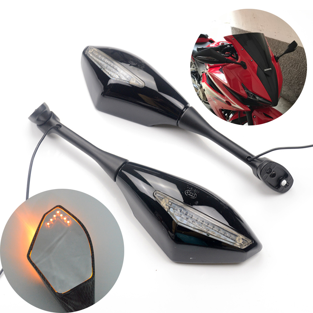 цена на 1 Pair Motorcycle Turn Signals Rear View Side Mirrors For Honda CBR 600 RR 2003-2014 CBR1000RR 2004 2005 2006 2007 CBR 250R 500R