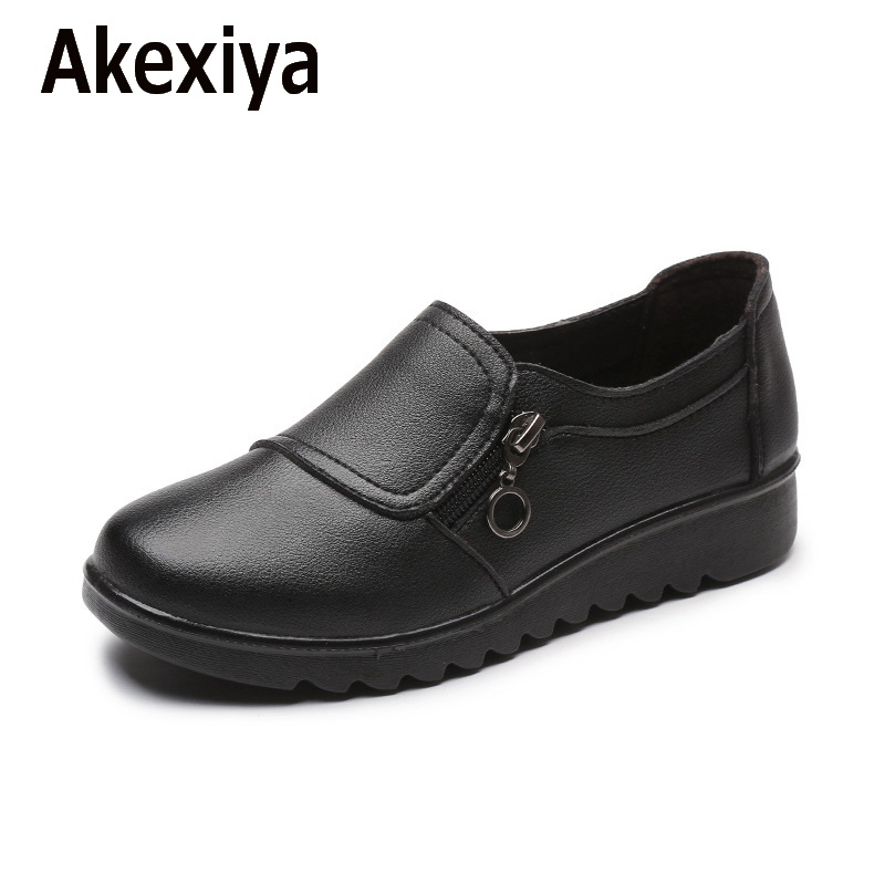 New Autumn Women's Shoes Fashion Casual Women Leather Shoes Ladies Slip On Comfortable Plus Size Work shoes free shipping the spring and summer of 2016 new men s leather shoes are comfortable size kevin slip on england shoes free shipping