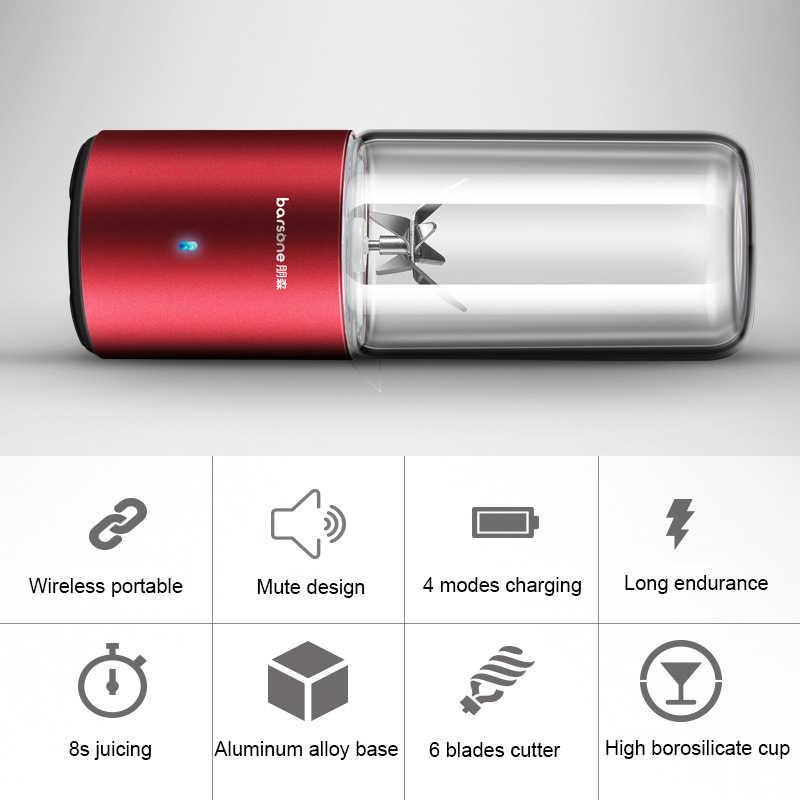 BARSONE Liquidificador Suco Portátil usb Mini Garrafa Liquidificador Copo 330 ml Liga de Alumínio Base de Recarga Da Bateria De Lítio de Patente 6 Lâminas