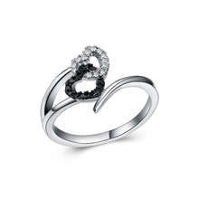 Huitan Best Selling 2018 Products Women Heart To Sweet Rings White And Black Zirconia Ring Wedding Engagement Promise