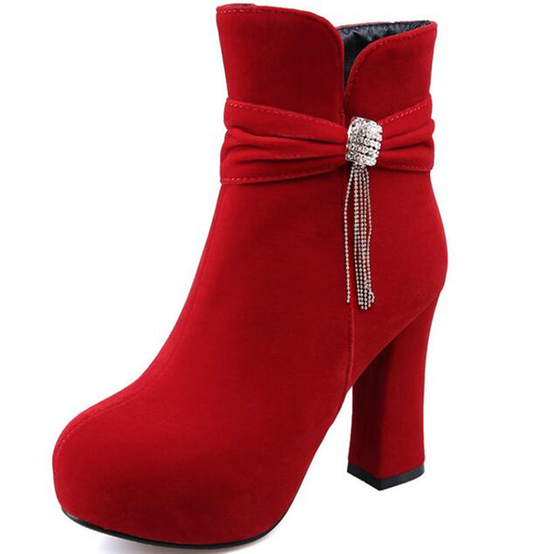 7a6dc63980 Autumn winter new Korean version butterfly knot high heel heel short boots  female boots red wedding shoe female single boots-in Ankle Boots from Shoes  on ...